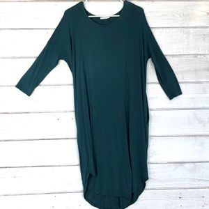 Emerald green, high low, midi dress, size M